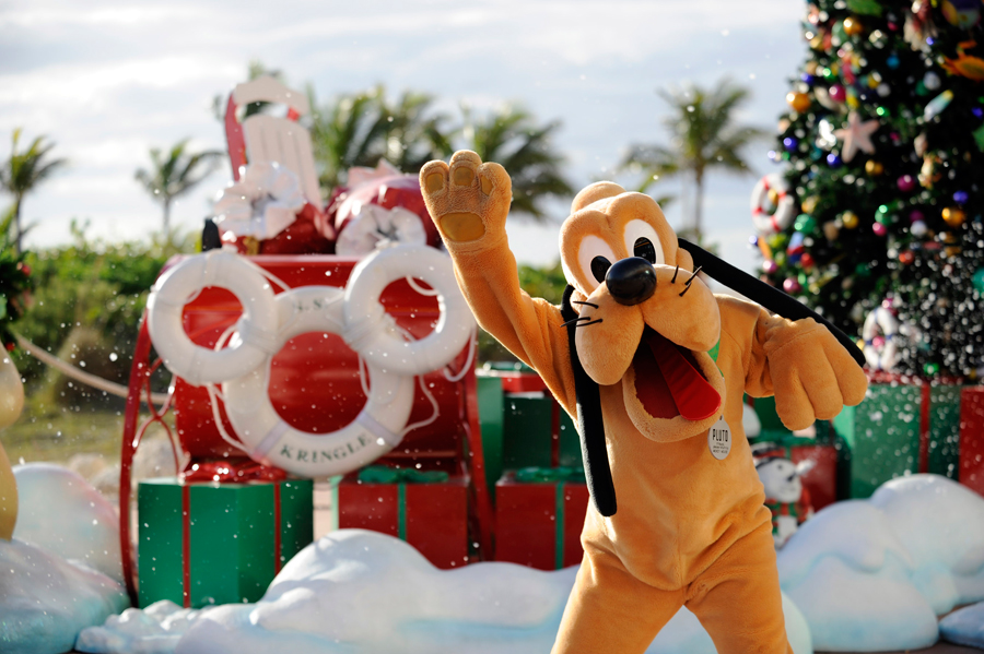 Pluto Plays in Snow Flurries at a Disney Cruise Line Stop