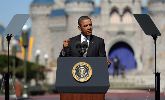 'America is open for business,' President Barack Obama told an audience at Walt Disney World Resort. The president visited Magic Kingdom Park to unveil a comprehensive plan to attract more international visitors to the United States.