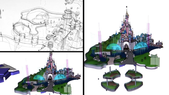Plans for Water Streams at the Disneyland Paris Castle, Part of the New After-Dark Disney Dreams Show