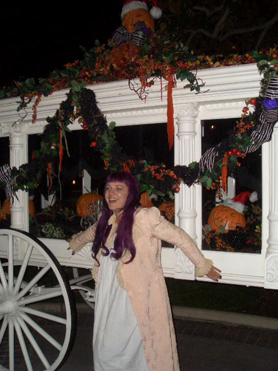 Johns Daughter, Emily, in Front of the Haunted Mansion in Disneyland Park