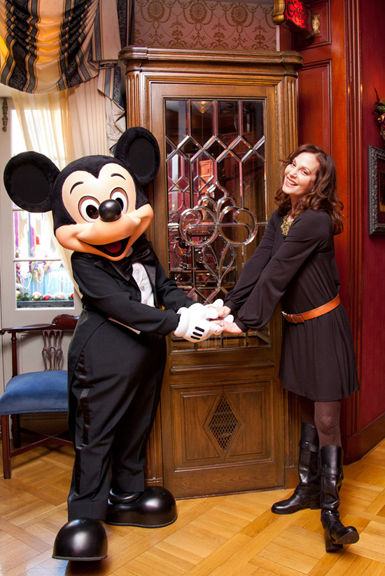 Lesley Ann Warren and Mickey Mouse Stand in Front of the Telephone Booth at Club 33