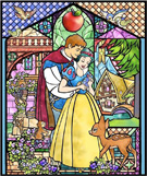 Snow White Stained Glass Window on the Façades of 'it's a small world' at Disneyland Park and Cinderella Castle at Magic Kingdom Park as Part of 'The Magic, The Memories and You!'