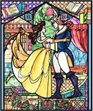 Beauty &#038; the Beast Stained Glass Window on the Faades of 'it's a small world' at Disneyland Park and Cinderella Castle at Magic Kingdom Park as Part of 'The Magic, The Memories and You!'