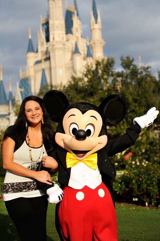 Amanda Ficili, One of the Newest Walt Disney World Moms Panelists, Poses with Mickey Mouse in Front of Cinderella Castle at Magic Kingdom Park