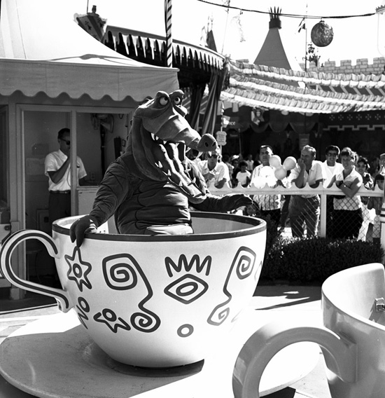 Caption This: Tea Croc-kery at Disneyland Park - Mad Tea Party in 1961