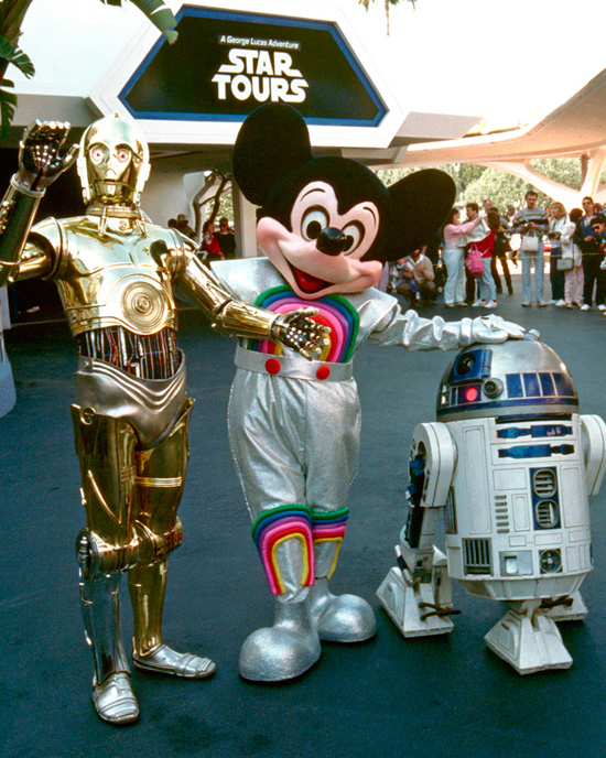 C-3PO, Mickey Mouse and R2-D2 at Star Tours at Disneyland Park in 1987