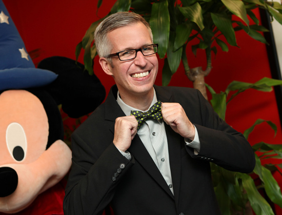 Disney Parks Blog Author Steven Miller Wearing A New Bow Tie Arriving to Disney Parks in April