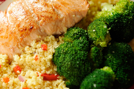 Grilled Salmon with Fresh Steamed Broccoli and Couscous at Columbia Harbor House at Magic Kingdom Park