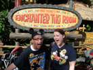 Nate experiences Walt Disney's Enchanted Tiki Room with a pal.