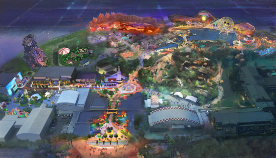 Birdseye View of New Lands Coming to Disney California Adventure Park at Disneyland Resort
