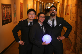 Carnegie Mellon University team in Walt Disney's Imagineering's 21st ImagiNations Design Competition. L-R: Ping Li, Michael Honeck, Franz Mendonsa. Photo Credit: Gary Krueger, Walt Disney Imagineering