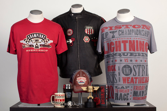 Merchandise for Champion's Custom Speed Shop Coming to Cars Land at Disney California Adventure Park