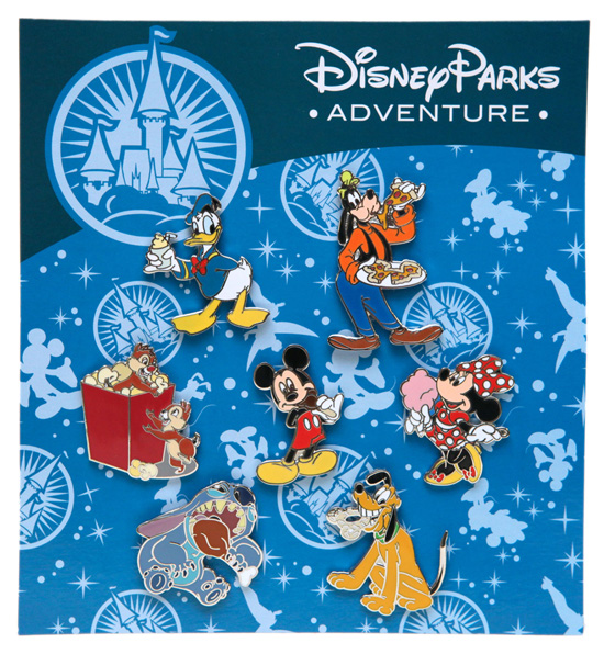 Exclusive Pins Featuring Disney Characters Enjoying Food Items Are Available on the Disney Parks Online Store.