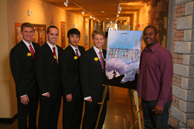 North Carolina State University's team in Walt Disney's Imagineering's 21st ImagiNations Design Competition. L-R: Kyle Thompson, Michael Habersetzer, Andy Park, Brian Gaudio and Imagineering mentor Billy Almon. Photo Credit: Gary Krueger, Walt Disney Imagineering