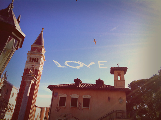 'Love' Written in the Sky Above the Italy Pavilion in Epcot