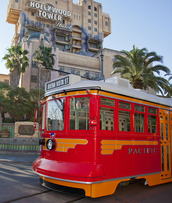 The Red Car Trolley Making Test Runs Through Hollywood Pictures Backlot at Disney California Adventure Park