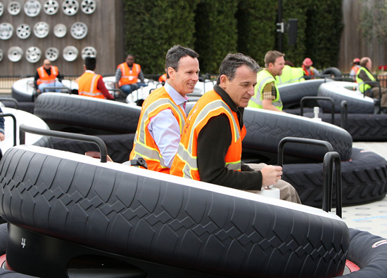 Disney President and CEO Bob Iger and Chairman of Walt Disney Parks and Resorts Tom Staggs Behind the Construction Walls at Disney California Adventure Park for a Tour of Buena Vista Street and Cars Land