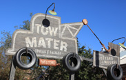 Attraction Marquee for Mater's Junkyard Jamboree in Cars Land, Opening June 15 at Disney California Adventure Park
