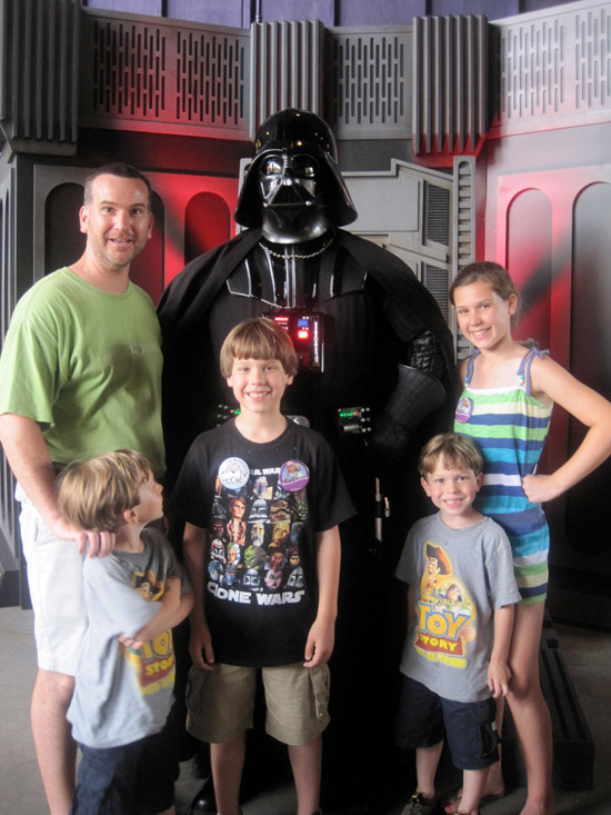 Walt Disney World Moms Panelist, Jodie Hilson's Family at Star Wars Weekend Seen Here with Darth Vader