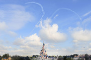 The French Air Force Aerobatic Team Traces the Number 20 in the Sky in Honor of the 20th Anniversary of the Opening of Disneyland Resort Paris