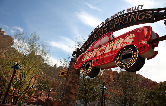 Entrance to Radiator Springs Racers in Cars Land at Disney California Adventure Park, By Paul Hiffmeyer