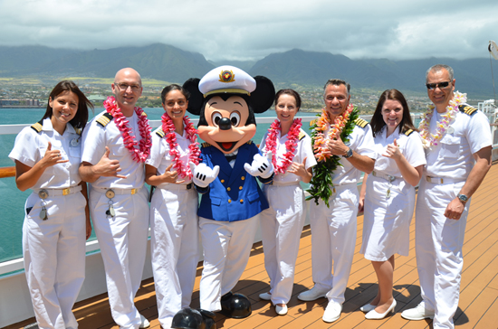 The Disney Wonder Captain and His Team in Maui