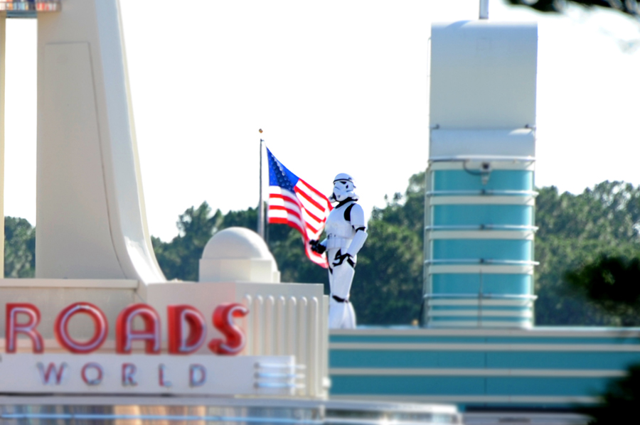 A Stormtrooper Patrols the Turnstile Rooftops at the Park Entrance