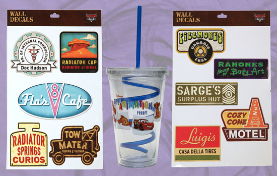 Disney's Art of Animation Resort Merchandise Featuring Decals and Tumbler