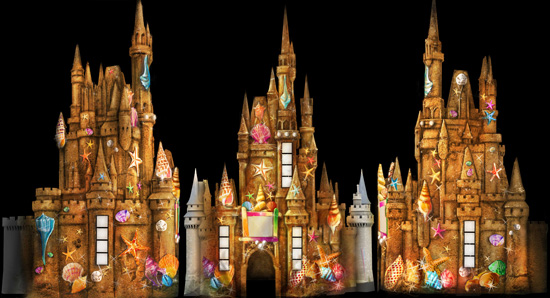 Cinderella Castle Transformed into a Sandcastle During 'The Magic, The Memories and You!' Summer Celebration at Magic Kingdom Park