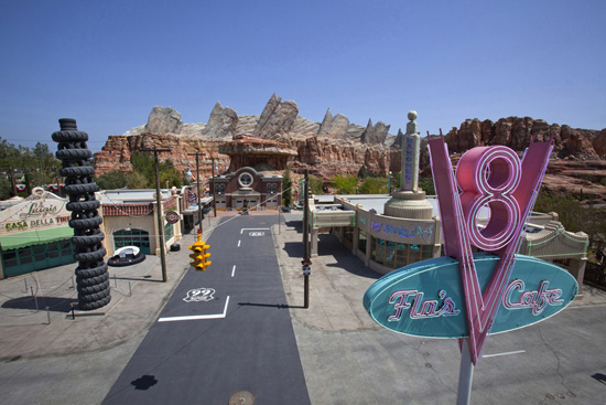 New Photos: Cars Land in Disney California Adventure Park, Day and Night