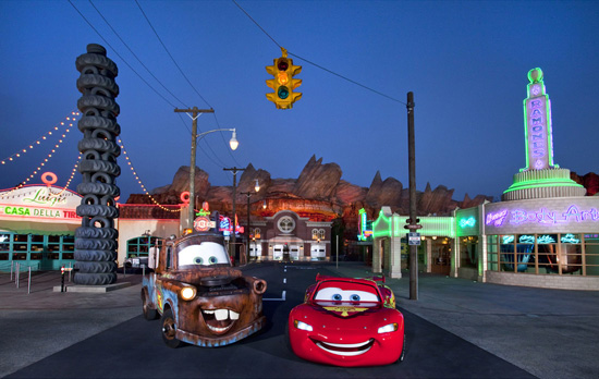 Cruising at Night with Lightning McQueen and Mater in Cars Land at Disney California Adventure Park