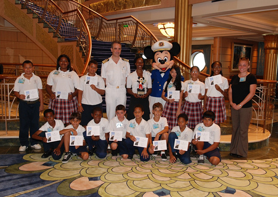 The Year 6 Class from Triple C School in the Cayman Islands Celebrating Winning the 2012 Disneys Planet Challenge Onboard the Disney Fantasy
