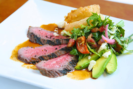 Angus Flank Steak Cobb salad with Mine Shaft Blue Cheese, Bacon, Avocado and Arugula with Cabernet Essence at Carthay Circle Restaurant in Disney California Adventure Park