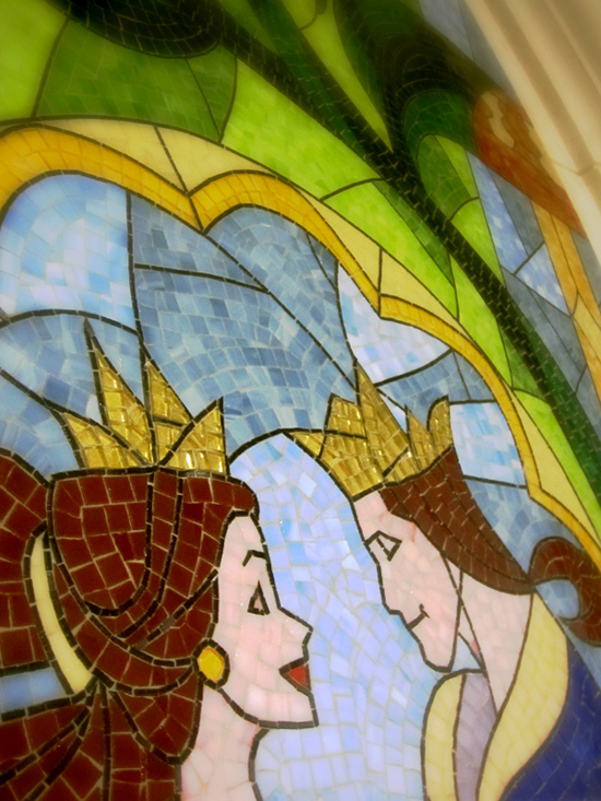 A Wall Mosaic in Be Our Guest Restaurant in New Fantasyland at Magic Kingdom Park