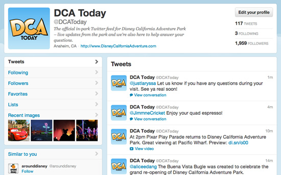 New In-Park Social Media Tools Assist Disney California Adventure Park Guests