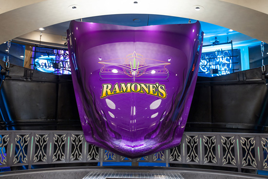 One of the Chip Foose-Designed Car Hoods on Display at Ramones House of Body Art