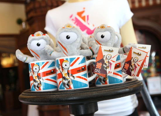 Merchandise for Official Olympic Mascot Wenlock at the United Kingdom Pavilion in Epcot