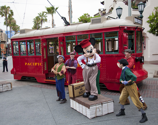 The Red Car News Boys Perform with Mickey Mouse on Buena Vista Street at Disney California Adventure Park