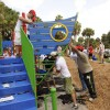 Based on designs from local children, the playground includes slides, climbing equipment and even a ships bow and stern in a nautical nod to Disney Cruise Line.