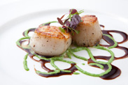 Scallops with Citrus Wasabi Soy Glaze and Scallion Cream from Steakhouse 55 at the Disneyland Hotel