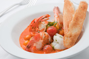 Sautéed Spicy Shrimp with Blistered Tomatoes and Roasted Red Pepper Sauce from Steakhouse 55 at the Disneyland Hotel