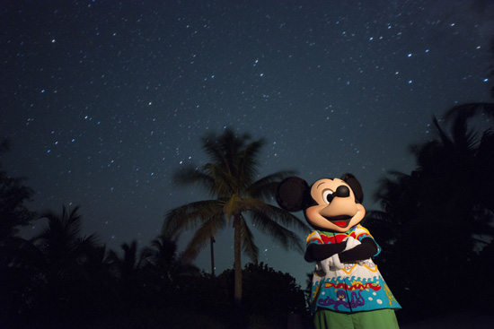 Mickey Mouse at Disney's Castaway Cay at Night