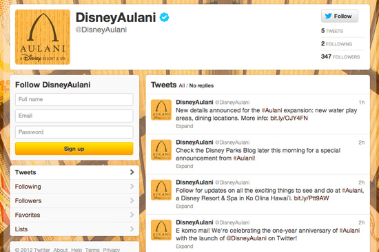 Aulani, a Disney Resort &#038; Spa Twitter Page