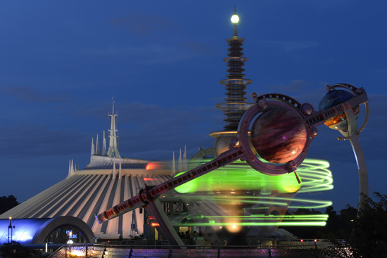 Disney Parks After Dark: Tomorrowland at Magic Kingdom Park at Dusk