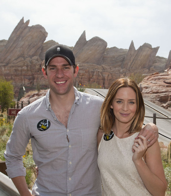 Emily Blunt and John Krasinski at Cars Land in Disney California Adventure Park
