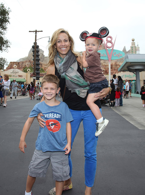 Sheryl Crow and Her Sons in Cars Land at Disney California Adventure Park