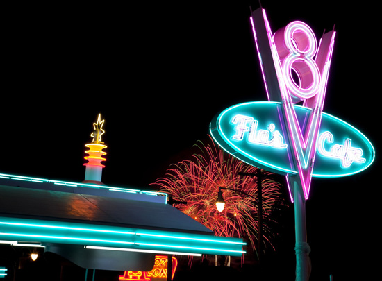 Fireworks Over Flo's V8 Café in Cars Land at Disney California Adventure Park