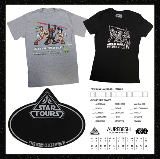 Star Wars Celebration VI Event T-Shirts with Disney Characters Playing the Role of Star Wars Characters