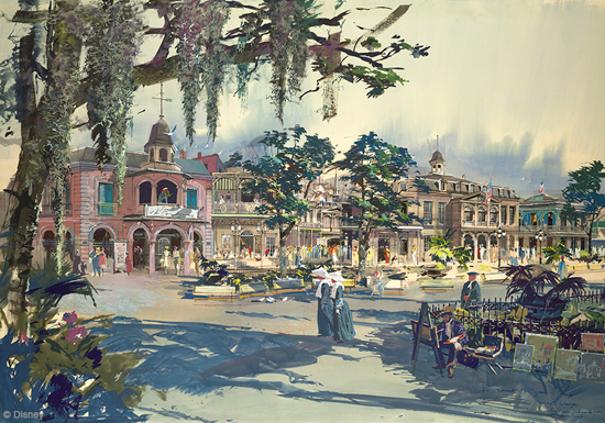 New Orleans Square Rendering Designed by Disney Legend Herb Ryman