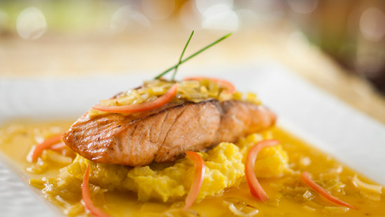 Pan-Seared Salmon with Leek Fondue and Saffron Potatoes, Part of the Menu at Be Our Guest Restaurant in New Fantasyland at Magic Kingdom Park